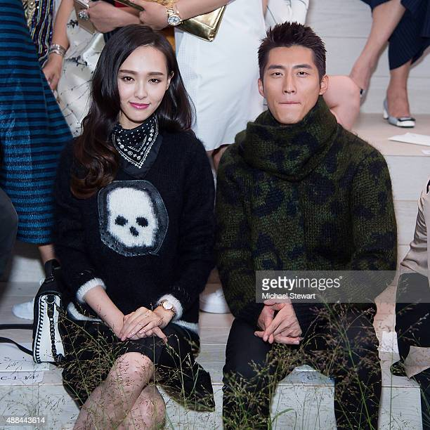 Tiffany Tang aka Tang Yan and Shawn Dou aka Dou Xiao attend the Coach presentation during Spring 2016 New York Fashion Week on September 15 2015 in...