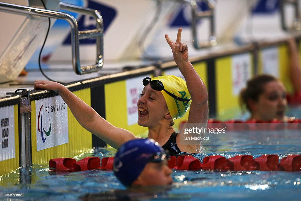 Tiffany Thomas Kane of Australia celebrates victory in the Women's 100M Breaststroke SB6 Final during Day Two of The IPC Swimming World Championships at Tollcross Swimming Centre on July 14, 2015 in Glasgow, Scotland.
