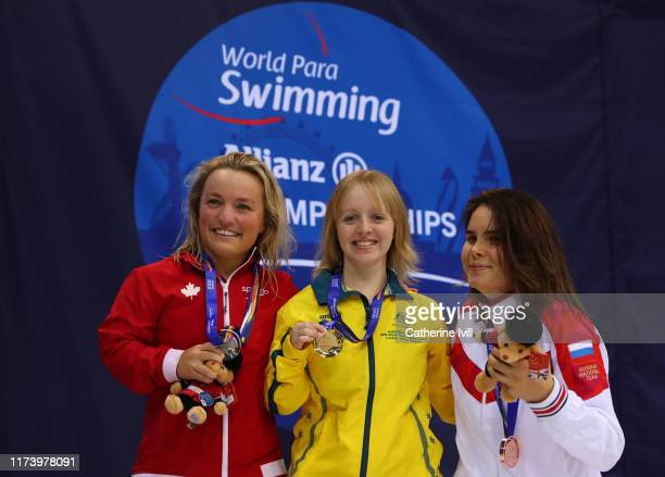 Tiffany Thomas Kane of Australia Tess Routliffe of Canada and on Maria Pavlova of Russia after the Women's 100m Breaststroke SB7 Final on Day Three...