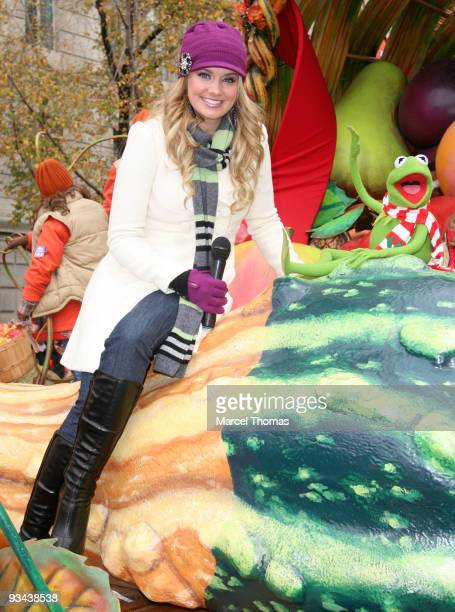 Tiffany Thornton and Kermit the Frog attend the 83rd Annual Macy's Thanksgiving Day Parade on the Streets of Manhattan on November 26 2009 in New...