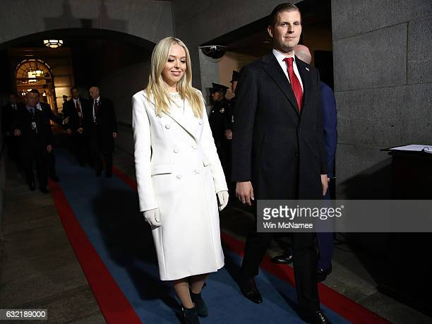 Tiffany Trump and Eric Trump arrive on the West Front of the US Capitol on January 20 2017 in Washington DC In today's inauguration ceremony Donald J...
