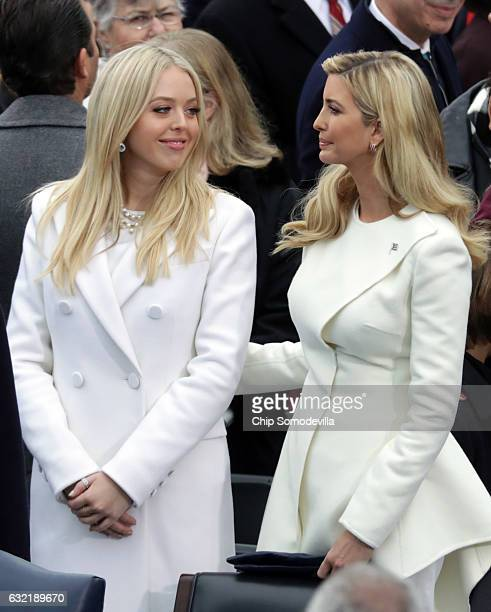 Tiffany Trump and Ivanka Trump arrive on the West Front of the US Capitol on January 20 2017 in Washington DC In today's inauguration ceremony Donald...