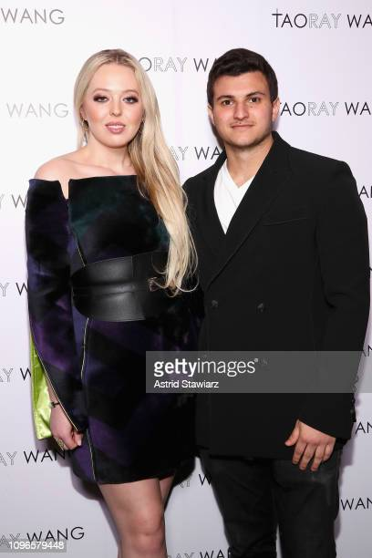 Tiffany Trump and Michael Boulos pose backstage for Taoray Wang fashion show during New York Fashion Week The Shows at Gallery II at Spring Studios...