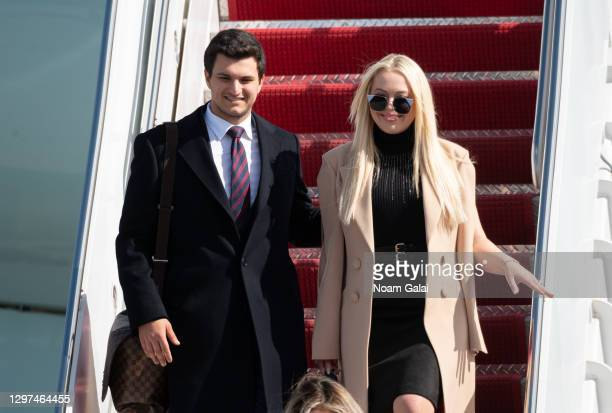 Tiffany Trump and Michale Boulos exit Air Force One at the Palm Beach International Airport on the way to Mar-a-Lago Club on January 20, 2020 in West...