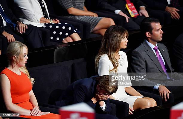 Tiffany Trump Barron Trump Melania Trump and Donald Trump Jr listen to Republican presidential candidate Donald Trump deliver his speech on the...