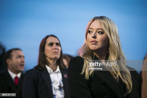 Tiffany Trump daughter of US President Donald Trump sits during the 95th Annual National Christmas Tree Lighting in Washington DC US on Thursday Nov...