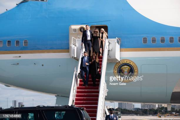 Tiffany Trump, Eric Trump, Lara Trump, Donald Trump Jr. And Kimberly Guilfoyle exit Air Force One at the Palm Beach International Airport on the way...