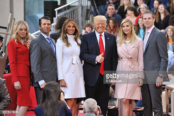 Tiffany Trump Eric Trump Melania Trump Donald Trump Ivanka Trump and Donald Trump Jr attend NBC's Today Trump Town Hall at Rockefeller Plaza on April...