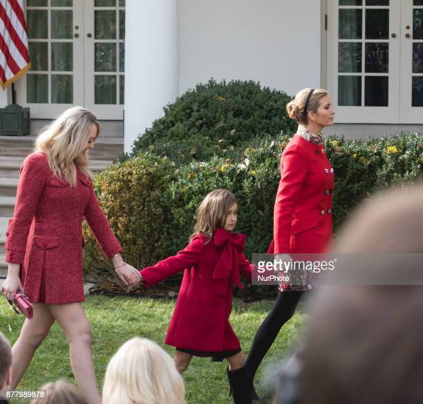 Tiffany Trump her sister Ivanka Trump right and her daughter Arabella Kushner leave the Rose Garden after President Donald Trump pardoned Drumstick...