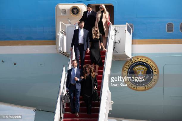Tiffany Trump, Michale Boulos, Eric Trump, Lara Trump, Donald Trump Jr. And Kimberly Guilfoyle exit Air Force One at the Palm Beach International...