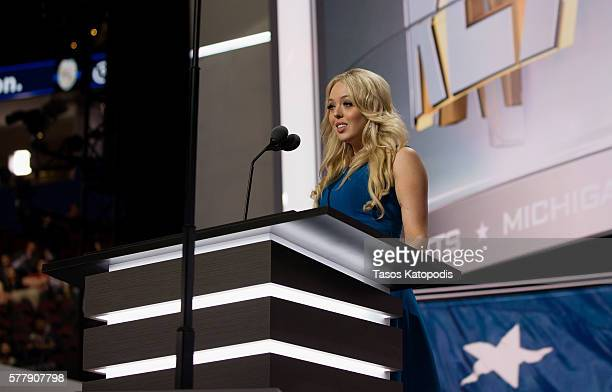 Tiffany Trump speaks at the second day of the Republican National Convention on July 19 2016 at the Quicken Loans Arena in Cleveland Ohio An...