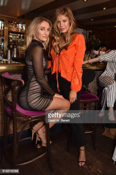 Tiffany Watson and Frankie Gaff attend Valentine Sozbilir's 21st birthday dinner at Albert's Club on February 9 2018 in London England