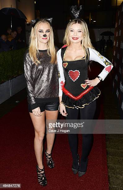 Tiffany Watson and Georgia Toffolo attend the KISS FM Haunted House Party at SSE Arena on October 29 2015 in London England