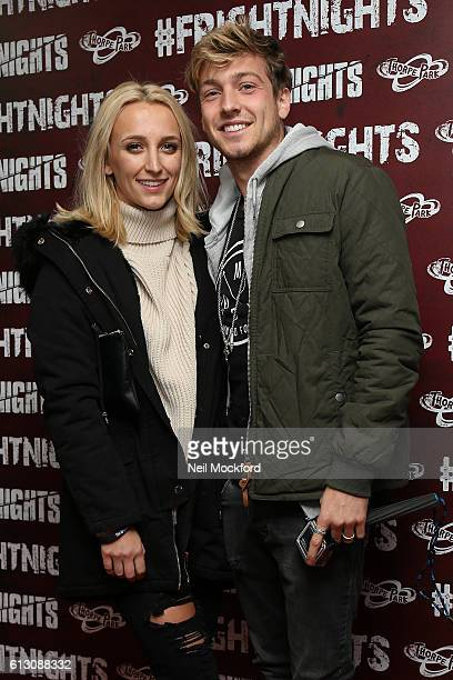 Tiffany Watson and Sam Thompson attends the launch of Thorpe Park's Fright Nights at Thorpe Park on October 6 2016 in Chertsey England