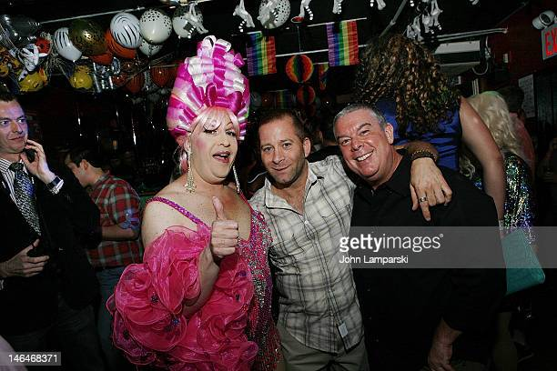 Tiffany Wells Stephen Battista and Elvis Duran attend Alex Carr's birthday celebration at The Stonewall Inn on June 16 2012 in New York City