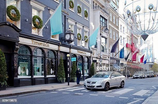 tiffany's, london, at christmas - pedestrian crossing sign stock photos and pictures