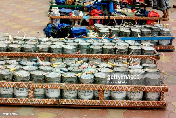 Tiffins or dabbas lunchboxes in crate, Bombay Mumbai, Maharashtra, India