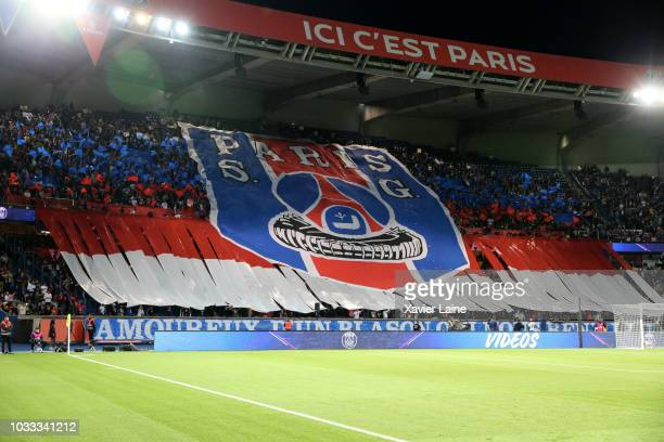 Tiffo of Parisian Fans before the French Ligue 1 match between Paris Saint Germain and AS Saint Etienne on September 14 2018 in Paris France