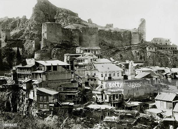 circa 1900 A view of the old fortress adjoining the botanical gardens in Tiflis