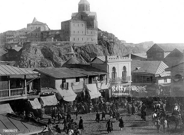 circa 1900The old Armenian church in the Metakhs fortress showing the Tartar bazaar in the foreground in Tiflis