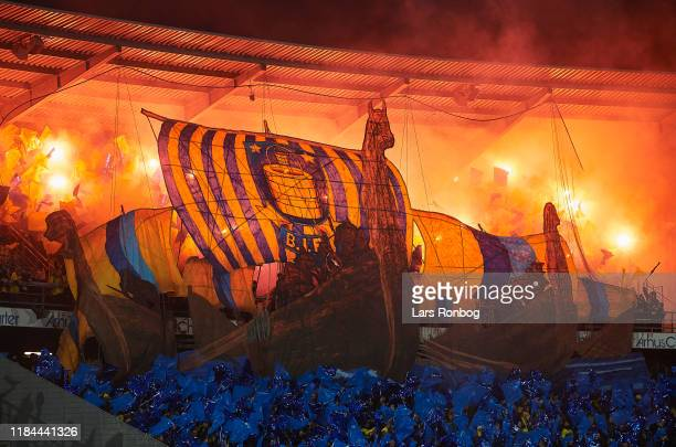 Tifo and pyrotechnics from Brondby IF fans prior to the Danish 3F Superliga match between AGF Aarhus and Brondby IF at Ceres Park on November 24,...