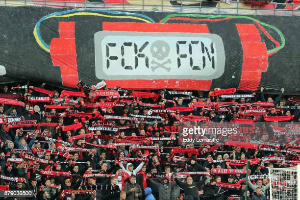 Tifo and supporters of Rennes during the Ligue 1 match between Stade Rennais and Nantes at Roazhon Park on November 25 2017 in Rennes