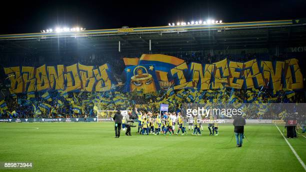 Tifo from the fans of Brondby IF prior to the Danish Alka Superliga match between Brondby IF and AGF Arhus at Brondby Stadion on December 10 2017 in...