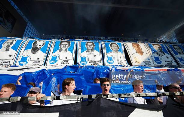 A tifo from the FC Copenhagen fans prior to the Danish Alka Superliga match between FC Copenhagen and Brondby IF at Telia Parken Stadium on May 14...