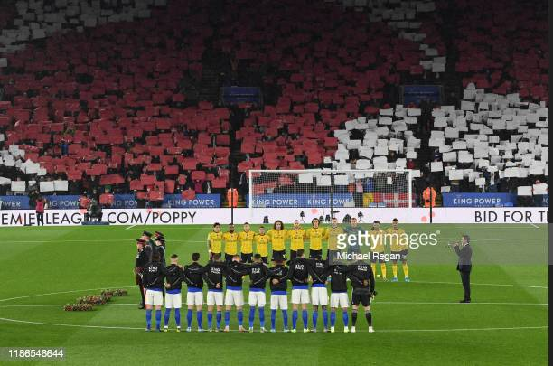 Tifo is displayed as players, staff and members of the British Armed Forces participate in a minute silence in honour of Remembrance Day prior to the...