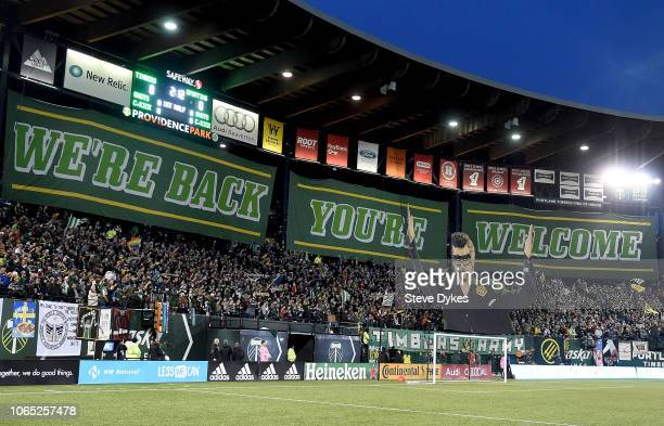 A tifo is displayed before the match between the Portland Timbers and the Sporting Kansas City at Providence Park on November 25 2018 in Portland...
