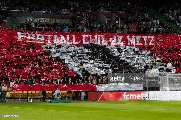 Tifo of fans of Metz during the Ligue 1 match between FC Metz and Toulouse FC at Stade SaintSymphorien on May 14 2017 in Metz France