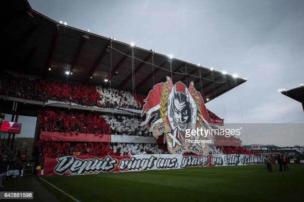 Tifo of the supporters of sStandard during the Jupiler Pro League match between Standard de Liege and Kaa Gent on in Sclessin Belgium