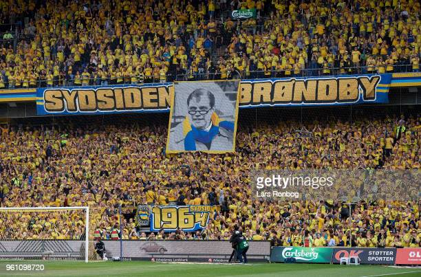 A tifo tribute from the fans to former Brondby IF president and Brondby mayor Kjeld Rasmussen prior to the Danish Alka Superliga match between...