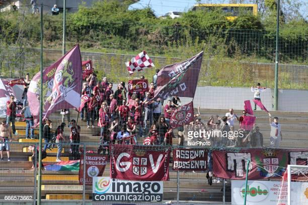 Tifosi della Reggiana arrivati a Teramo per incitare la propria squadra durante la gara di Lega Pro girone B tra Teramo Calcio 1913 e A.C. Reggiana...
