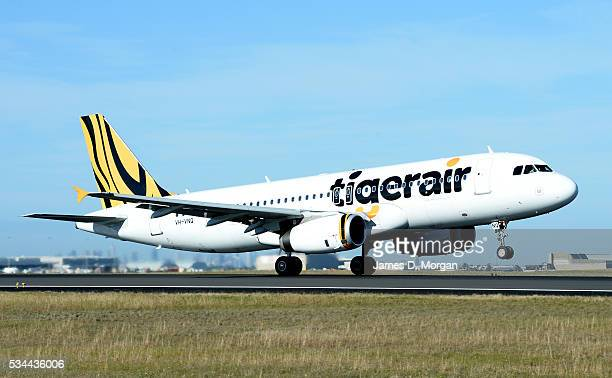 Tiger air Australia rebranded plane in the hangar and revealed Airbus A320 on July 1 2013 in Sydney Australia