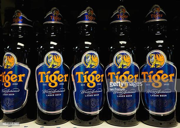 Tiger beer stands ready for sale in a Chinatown supermarket as the Chinese community come together to welcome in the Chinese New Year on February 22...