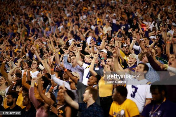 Tiger fans cheer during a game at Tiger Stadium against the Texas A&M Aggies on November 30, 2019 in Baton Rouge, Louisiana.