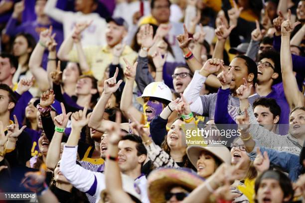Tiger fans during the game against the Florida Gators at Tiger Stadium on October 12, 2019 in Baton Rouge, Louisiana.