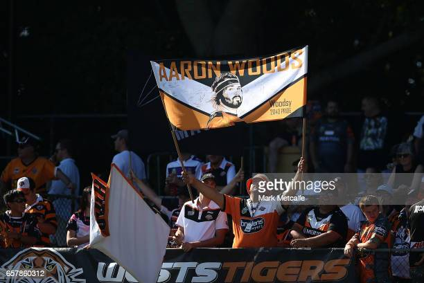 Tiger fans show their support during the round four NRL match between the Wests Tigers and the Melbourne Storm at Leichhardt Oval on March 26 2017 in...