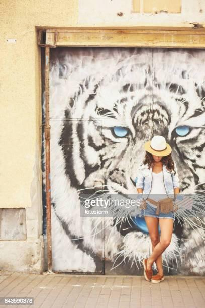 Tiger head mural