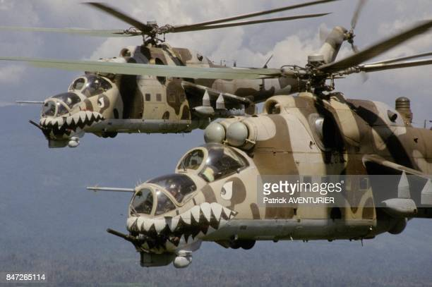 Tiger helicopters of Peruvian army general Alberto Arcienega to fight against guerillas and drug trafficking in December 1989 in Peru