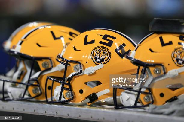 Tiger helmets on the bench during the SEC Championship Game between the UGA Bulldogs and the LSU Tigers on December 7 2019 at the MercedesBenz...
