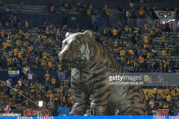 A tiger is inflated before the start of their first leg of the final of the Mexican Apertura 2015 tournament football match between the Tigres and...