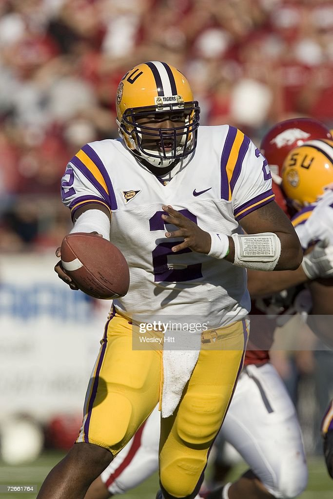 Tiger JaMarcus Russell #2 prepares to hand off the ball during a game against the Arkansas Razorbacks at War Memorial Stadium on November 24, 2006 in Little Rock, Arkansas. LSU won 31-26