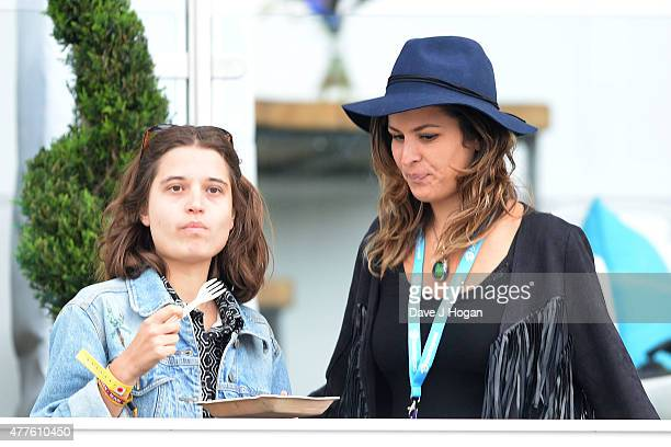 Tiger Lily Hutchence and Lliana Bird in the Barclay Hospitality Suite as part of the British Summer Time 2015 gigs at Hyde Park on June 18 2015 in...