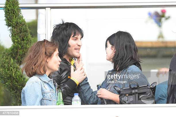 Tiger Lily Hutchence Noel Fielding and Pixie Geldof in the Barclay Hospitality Suite as part of the British Summer Time 2015 gigs at Hyde Park on...
