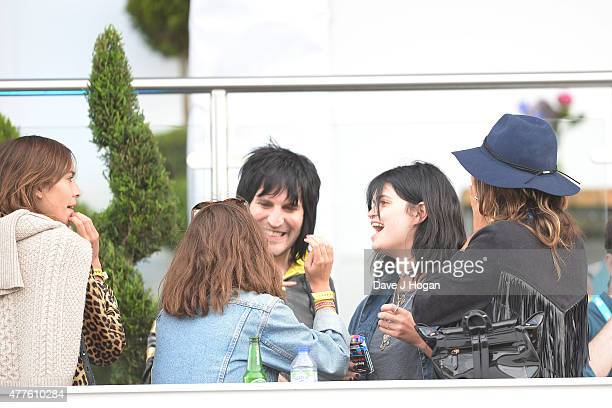 Tiger Lily Hutchence Noel Fielding Pixie Geldof and Lliana Bird in the Barclay Hospitality Suite as part of the British Summer Time 2015 gigs at Hyde...