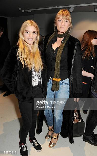 Tiger Lily Taylor and Deborah Leng attend a private view of Bill Wyman's new exhibit 'Reworked' at Rook Raven Gallery on February 26 2013 in London...