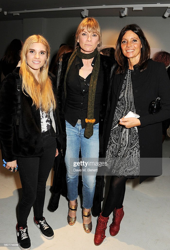 Tiger Lily Taylor, Deborah Leng and Debbie von Bismarck attend a private view of Bill Wyman's new exhibit 'Reworked' at Rook & Raven Gallery on February 26, 2013 in London, England.