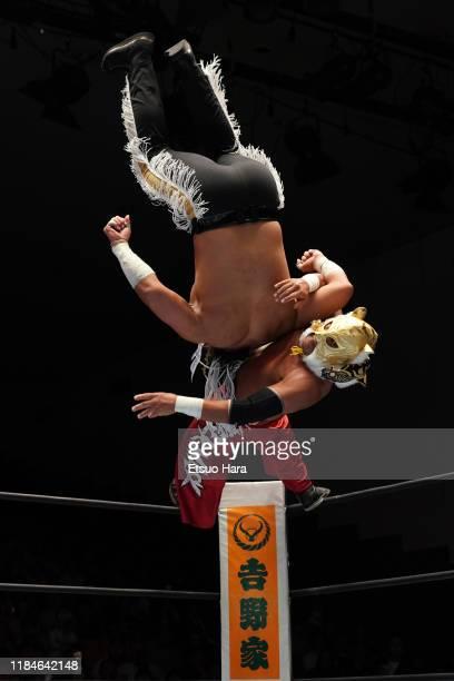 Tiger mask and El Desperado compete during the New Japan ProWrestling 'Road To Power Struggle' at Korakuen Hall on October 28 2019 in Tokyo Japan